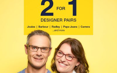 Designer Glasses 2 for 1 offer at Vision Express