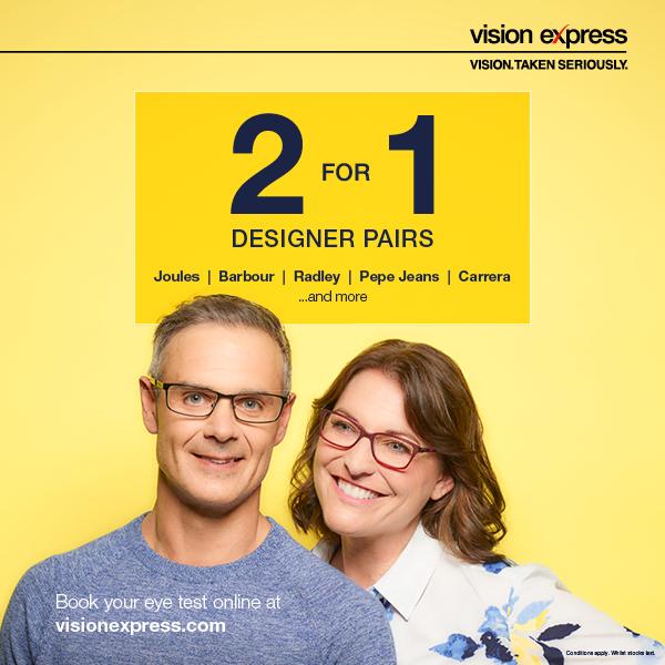 Designer Glasses 2 for 1 offer at Vision Express