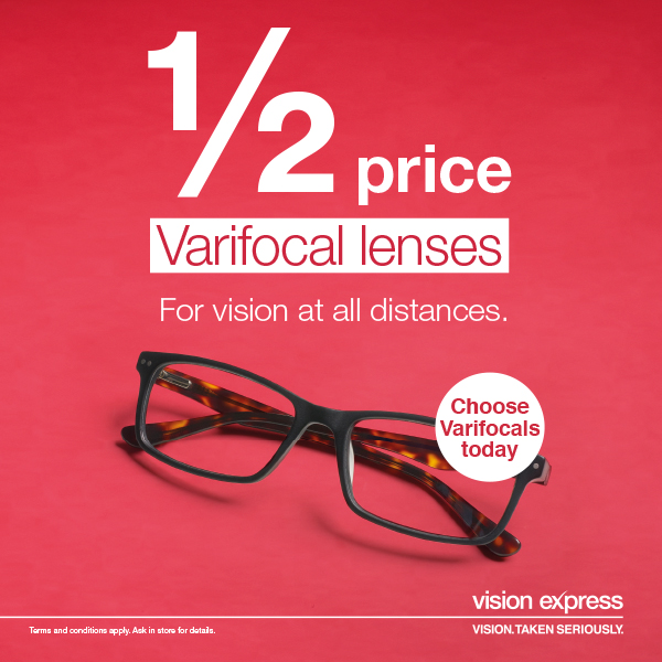 Half Price Varifocal Lenses at Vision Express